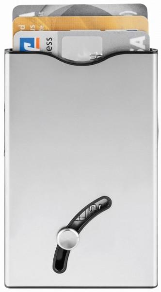 """Blackmaxx® Sicherheitskartenhalter """"CardSafeOneTouch"""" silber/schwarz"""
