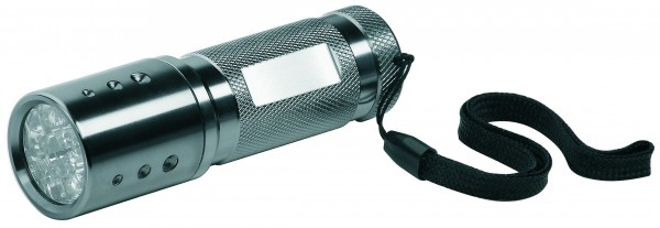 "Metmaxx® LED MegaBeam Taschenlampe ""12xPowerSecurity"" silber"